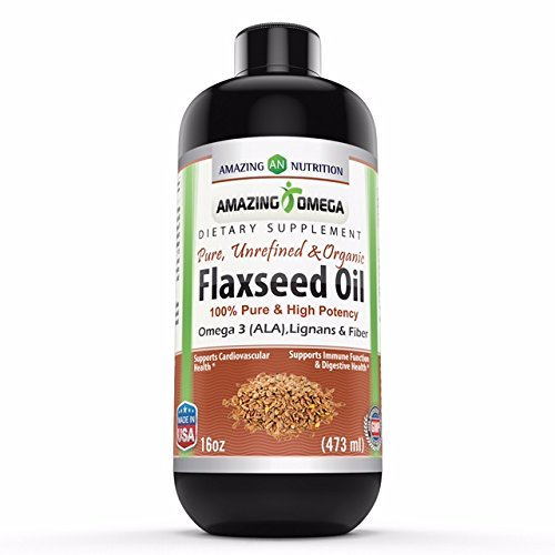Amazing Omega Flaxseed Oil Dietary Supplement 16 Fl Oz. – Excellent source of Omega 3s - Supports Heart health, Joint health, Immune system health, Digestive function and more