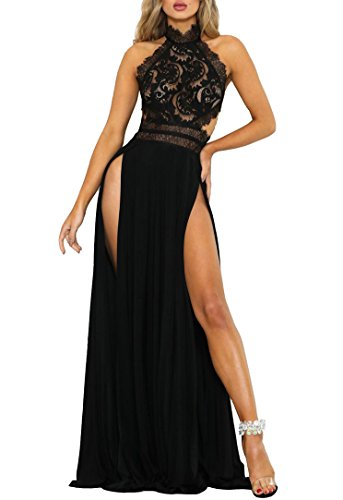 Ophestin Womens Sexy Halter Backless Floral Mesh Lace High Split Party Evening Long Maxi Dress Black XL