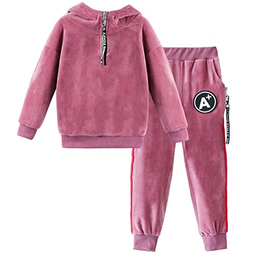 (Monvecle Toddler to Big Girls Warm 2psc Quarter Zip Hoodie Velour Sweatshirt Tops + Jogger Pants Tracksuit Set Pink 4-5y)