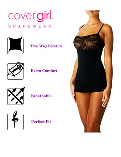 - CoverGirl Slimming Cami Tank Top with Lace Seamless Tummy Firm Control Shapewear for Women (Black,Large)