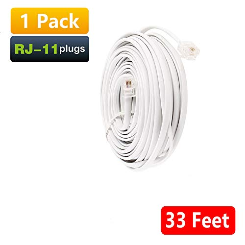 Uvital 33 Feet Telephone Landline Extension Cord Cable Line Wire with Standard RJ-11 6P4C Plugs(White 10M,1Pack)
