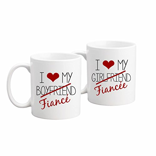 the coffee corner fiance coffee or tea mug set 11 ounce white ceramic set of 2 mugs engagement gift wedding anniversary his hers engaged