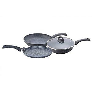 Wonderchef Granite Cookware 3 piece Set with 26cm Dosa Tawa