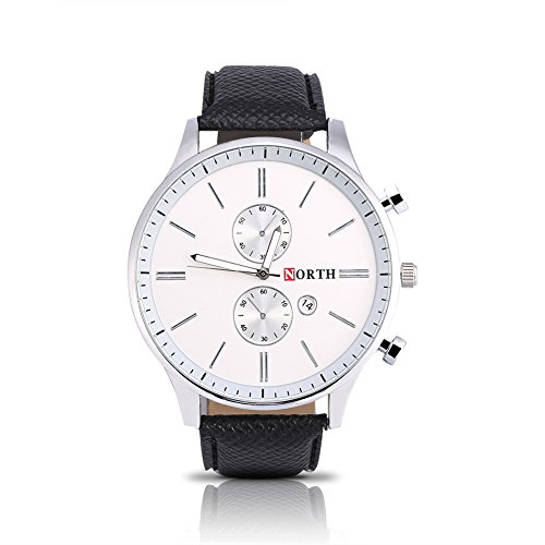 Watches for Men, Fashionable Male Analog Electronic Watch PU Band Alloy Case Round Wristwatch(Black belt with white flour)