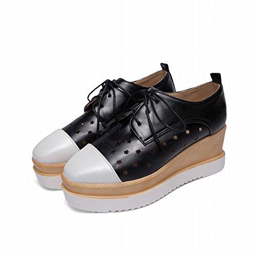 Latasa Damesmode-sterren Vierkante Neus Veterplateau Middelste Sleehak Oxfords Schoenen Zwart