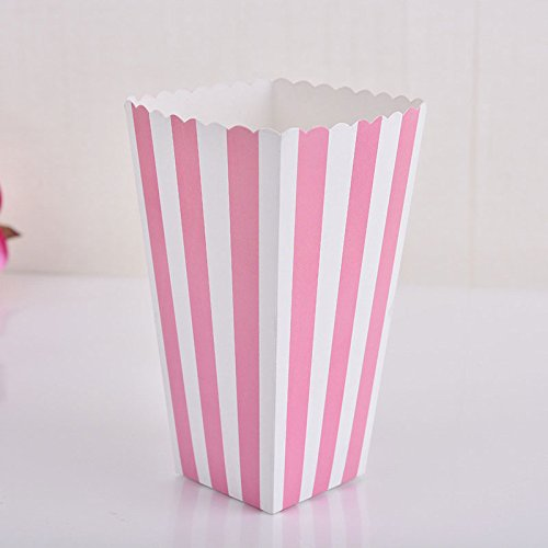 KICODE BigFamily Popcorn Boxes Movie Party with Striped White and Black for Movie Night Or Party