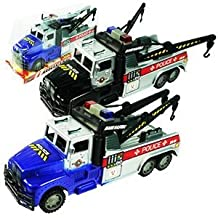 Friction Powered Police Tow Truck Toy for Kids (Colors May Vary) by MK Trading