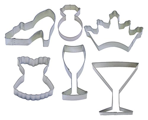 61GK Girl's Night Out Cookie Cutters, Corset, Crown, Wine Glass, High Heel, Diamond Ring, Martini, 6-Piece Set (Shaped Cookie Cutter)