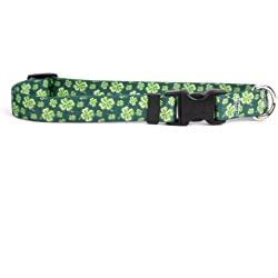 "Yellow Dog Design 4 Leaf Clover Dog Collar 3/4"" Wide And Fits Neck 10 To 14"", Small"