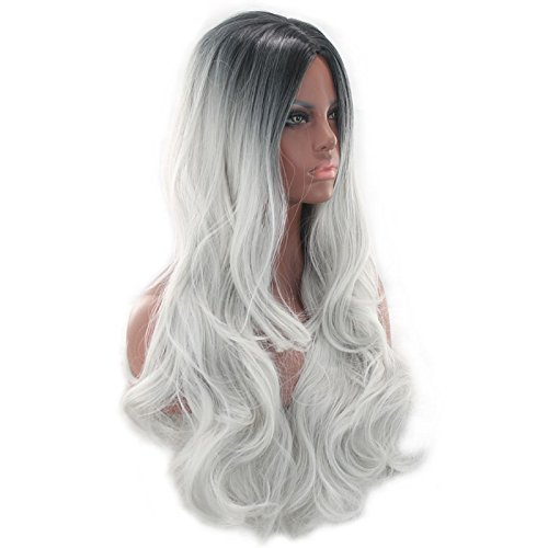 NEJLSD Wigs For Women Long Curly Wavy Synthetic Hair 2 Tones Ombre Dark Roots Midddle Part Full Head Wigs Hairstyles Halloween 27.5 inch (Black&Grey) -