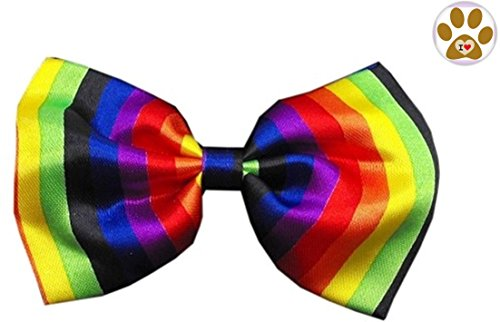 Patriotic Themed Costume Ideas (Rainbow Multi Striped BOW TIE and Button Pin for pets (Fits Neck 11
