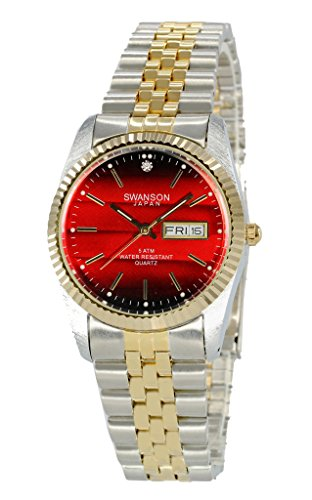 (Swanson Japan Men's Gold-Plated and Stainless Steel Two-Tone Day-Date Watch Red Dial)