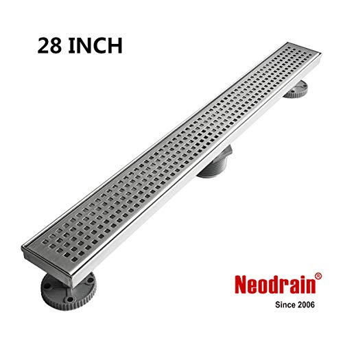 Neodrain 28-Inch Linear Shower Drain with Removable Quadrato Pattern Grate,Professional Brushed 304 Stainless Steel Rectangle Shower Floor Drain Manufacturer,With Leveling Feet,Hair Strainer