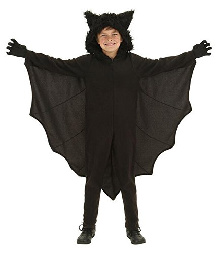 BELLE-LILI Child Kids Halloween Bat Costume with Hood and Gloves (M, (Bat Girl Toddler Costume)