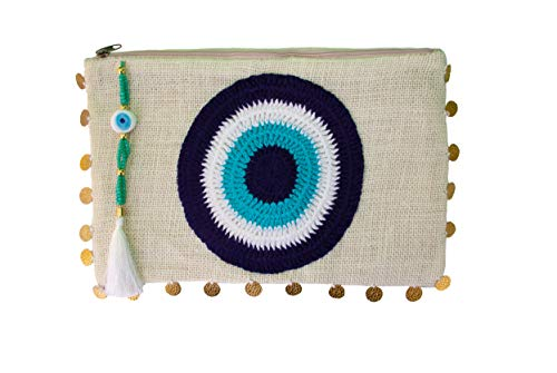 - Karens Dafni Evil Eye Jute Clutch Bag Beach bag Zipper Gift with Crystals and Tassels