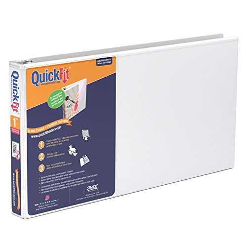 QuickFit Heavy Duty 8.5 x 14 Inch Landscape Spreadsheet View Binder, 1 Inch, Round Ring, White (95010L)