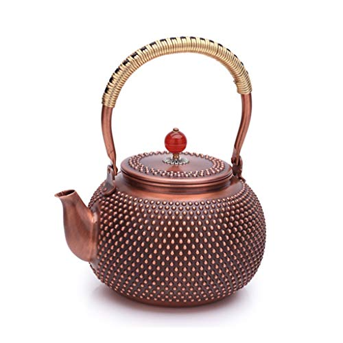 HongTeng Hand Beat Hobnail Design Tea Kettle, Japanese Tetsubin Copper Teapot, Large Size 51oz