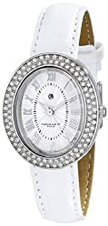 Charles-Hubert, Paris Women's 6837-W Premium Collection Swarovski Crystal-Accented Stainless Steel Watch with White Leather Band