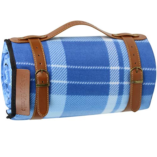 Extra Large Picnic Blanket, 79 x 59 Soft Fleece Rug with PU Carrier and Waterproof Backing, Light Weight and Portable Lawn Blanket for Beach or Camping Gift for Fahers Day