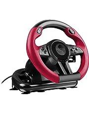 Speedlink TRAILBLAZER Racing Wheel - stuur voor Playstation 4, PS3 en pc (minimale schakeltijden - status-LED's - verstelbare pedalen), zwart-rood
