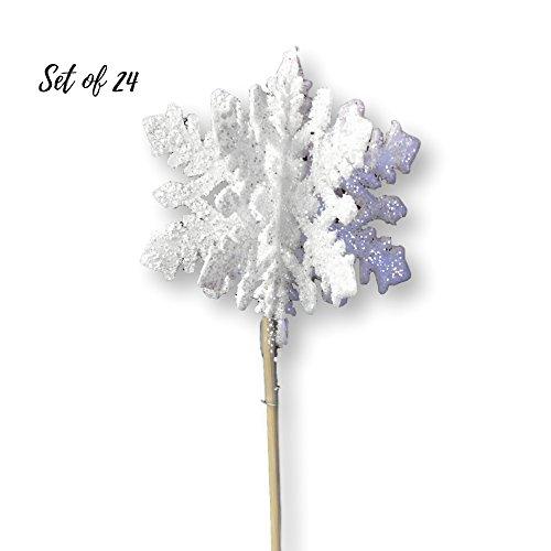 White Glittered Snowflakes - Set of 24 3D White Snowflake Picks - Snow Flake Cupcake Sticks - Winter - Xmas Picks