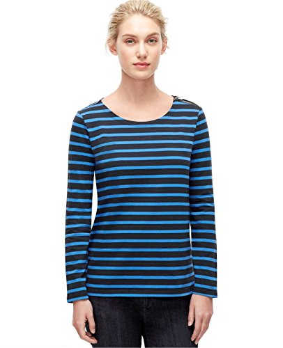 ann-taylor-womens-s-tonal-blue-striped-interlock-cotton-knit-top-tee-small