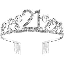 BABEYOND Crystal Birthday Tiara Rhinestone Princess Crown Happy Birthday Crowns Silver Diamante Happy 21st Birthday Tiara Crown (Silver-21th)