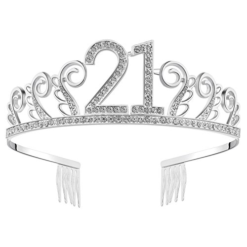 BABEYOND Crystal Birthday Tiara Rhinestone Princess Crown Happy Birthday Crowns Silver Diamante Happy 21st Birthday Tiara Crown (Silver-21st)