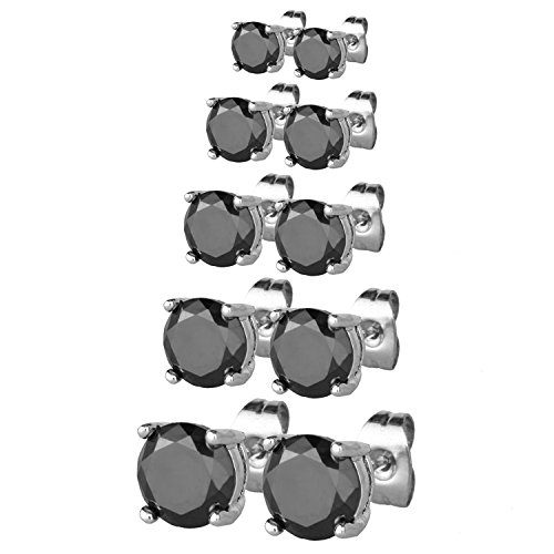 JewelrieShop Women Stud Earrings Set Surgical Stainless Steel Cubic Zirconia Earrings Hypoallergenic Piercing Earrings for Men (5 Pairs, 3-7mm, Black CZ, Silver)
