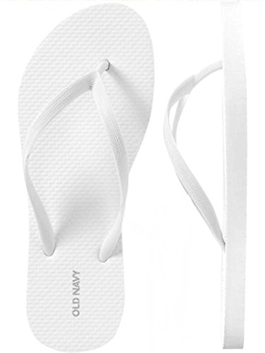 Sandals Women White Pvc New (OLD NAVY Flip Flop Sandals for Woman, Great for Beach Casual Wear (9, White))