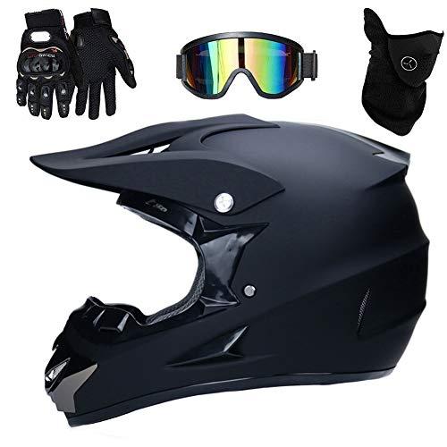 TKUI Motocross Helm mit Brille, Adult Off Road Motorradhelm Crosshelm Set Handschuhe Maske, Unisex Fullface Cross Helm…