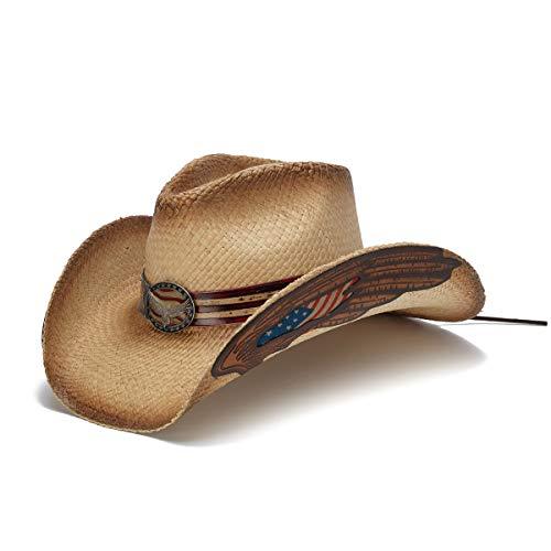 (Stampede Hats Men's Eagle Spirit 1 Eagle Wings USA Cowboy Hat L Tea Stain)