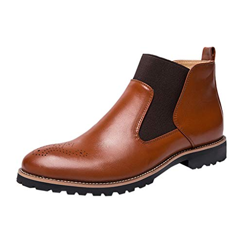 (Men Ankle Boot,Casual Vintage Fashion British Comfortable Formal Chukka Dress Leather Boots (US:10, Brown))