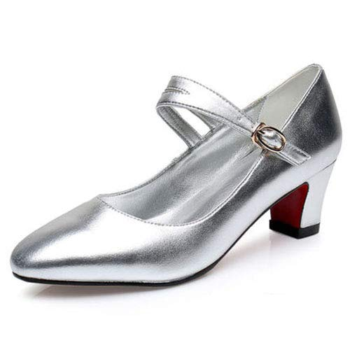 Lightweight Tango Ballroom Girls Jazz Salsa Shoes Leather Shoes Party For Showtime Samba Dancing Silver Ladies Dance Chacha Pumps Breathable PwTxIHTY