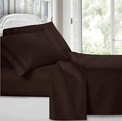 Egyptian Comfort 1800 Count 4 Piece Deep Pocket Bed Sheet California King  4pc Set (Chocolate