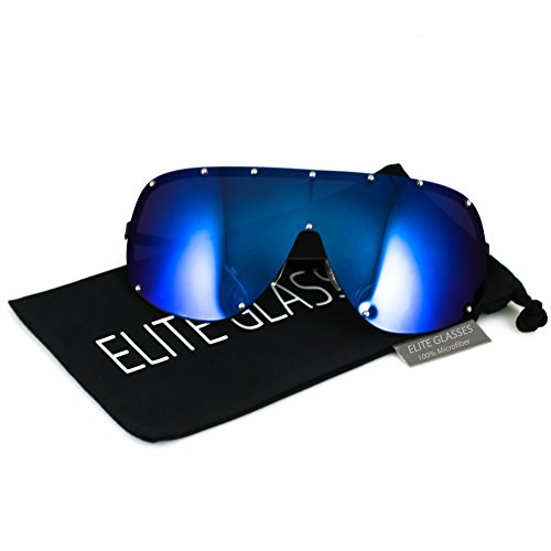 Oversize XXL Huge Large Shield Wrap Big Mask Polarized Sunglasses (Blue Mirrored, 80) (Sunglasses Shield)