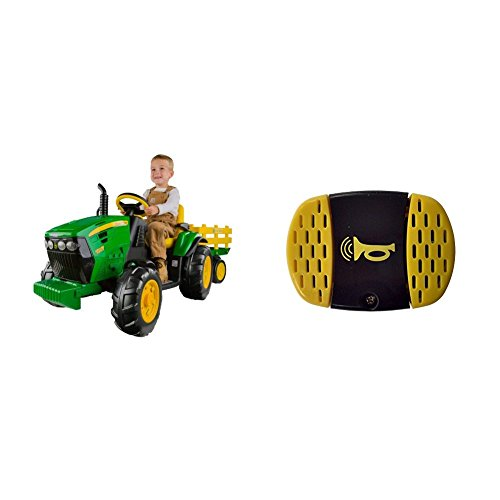 Peg Perego John Deere Ground Force Tractor with Trailer with Peg Perego John Deere Gator Horn Bundle