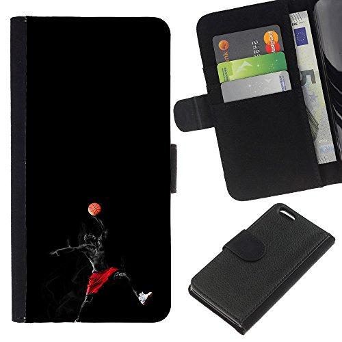 Funny Phone Case // Cuir Portefeuille Housse de protection Étui Leather Wallet Protective Case pour Apple Iphone 5C /Superhero Joueur de basket/