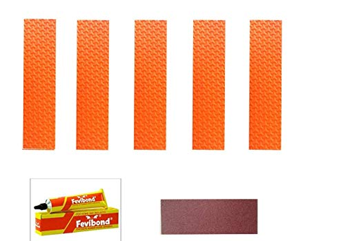 C&W Toe Guard Cricket BAT Repair Orange KIT (5pc Toe1 +Abrasive Strip +1 Fevibond) for Bat Care by Cricket World