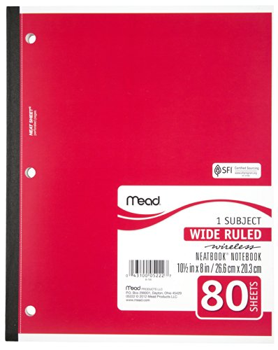 043100052227 - Mead 1-Subject Wireless Notebook, 10.5 x 8 Inches, Wide Ruled, 80 Sheets (05222) carousel main 3