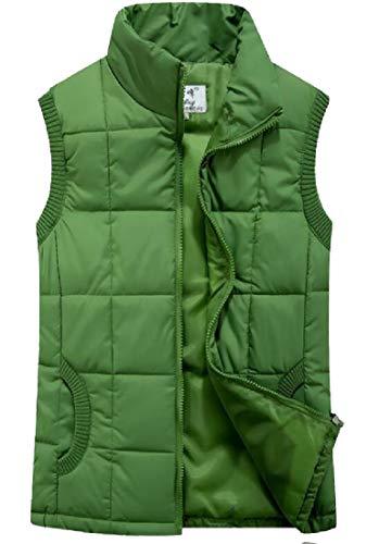Fit Jacket Women's EKU Stand Outerwear Slim Green Collar Padded Down Vest Lightweight yXOqpvOc7