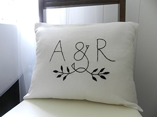 - Personalized Initials OR Monogram Pillow Cover. Modern Bedding. Mother's Day Gift. Wedding Gift Anniversary. Husband and Wife. Fresh White Linen Blend Fabric.