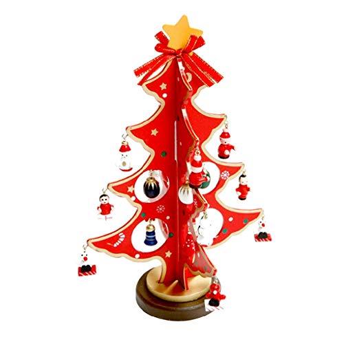 (Christmas Wood Tree Ornament,Lovewe Merry Christmas Decor Toy Doll Gift Home Children Kids Santa Snowman Wood Tree (red))