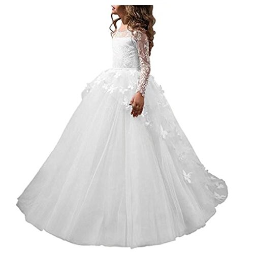 Angel Dress Shop Flower Girl Dress Lace Butterflies Appliques First Communion Princess Ball Gown Wedding (Holy Communion Dresses Shops)