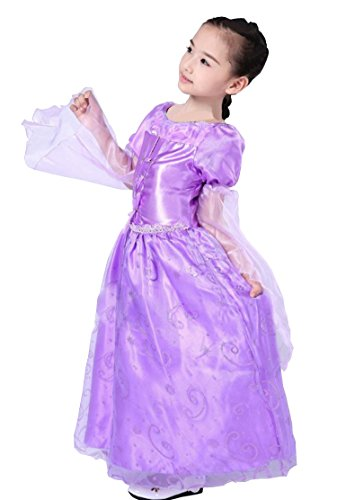 Cohaco Girls Rapanzel Style Long Sleeve Princess Purple Color Costume (6-6X (5-7 years)) (Tangled Fancy Dress)