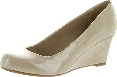 Forever Link Women's DORIS-22 Patent Round Toe Wedge Pumps,10 B(M) US,Beige