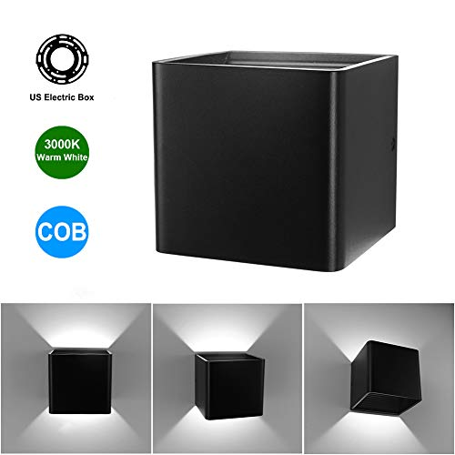 Cob Matte - Aipsun Square Matte 10W LED COB Modern Up and Down Wall Light Lamp Indoor Wall Mount Sconce Pathway Staircase Bedroom Reading Living Room Balcony Home Lighting Fixture(Black, White 4000K)