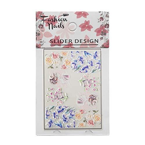 - Landscap 6D Engraved Nail Stickers Embossed Flower Water Nail Art Design Make Up DIY Decals Decoration