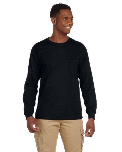 Gildan Adult Ultra Cotton Long Sleeve Pocket T-Shirt - Black, Large
