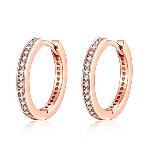 (Presentski Rose Gold Cuff Earrings Sterling Silver Cubic Zirconia Huggie Hoop Earrings Stud for)